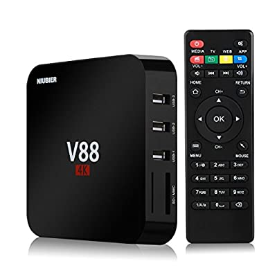 NIUBIER Android 5.1 Box TV 4K Wifi Kodi Pre installed Full Loaded Streaming Media Player Sports Movies Interner Media Player Quad Core 1GB RAM 8GB