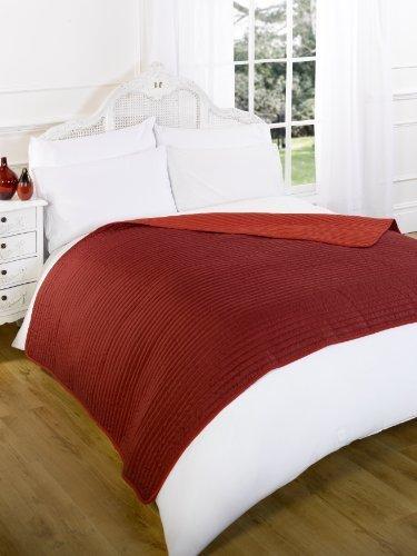 Dreamscene - Couvre-Lit matelassé réversible Chaud Rouge, Double, 150 x 200 cm