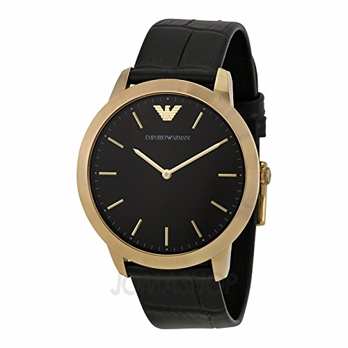 Emporio Armani Emporio Armani retrã² Black Dial Black Leather Strap Mens Watch AR1742