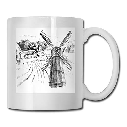 Jolly2T Funny Ceramic Novelty Coffee Mug 11oz,Hand Drawn Rural Scenery Small Town Farm Houses Forest and Mill Romantic Sketch,Unisex Who Tea Mugs Coffee Cups,Suitable for Office and Home Bee House-infuser