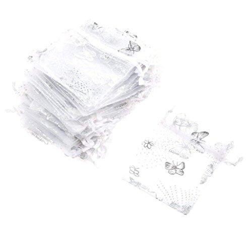 YFZYT 100 Stück Organza Taschen Schmetterling Organza Tunnelzug Geschenkbeutel Hochzeit Party Mitbringsel Taschen SchmuckBeutel Süßigkeiten Beutel, Geschenktüte, Schöne Säckchen - 9x12cm, Weiß B