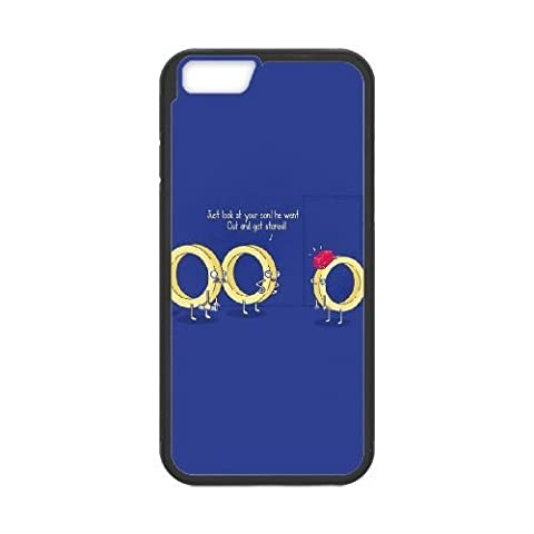 iphone6 plus/iphone6s plus Case,Cartoon golden ring pattern blue Fashion Trend Durable Hard Plastic Scratch-Proof Protective Case,Black