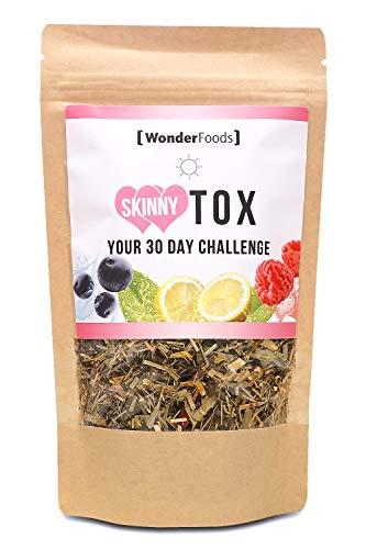 Skinnytox Day | 82 g Booster Tee mit Maximal Guarana und Koffein/Teein | Dein Superfood Tee mit Himbeere, Chia Samen, Acai uvm | Die Kaffee Alternative -