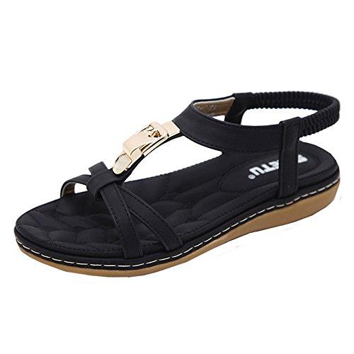 VJGOAL Damen Sandalen, Frauen Mädchen böhmischen Mode Flache beiläufige Sandalen Strand Sommer Flache Schuhe Frau Geschenk (39 EU, X-schwarz) (Gold Heels Und Handtasche)