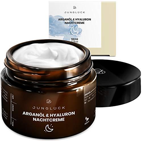 Nachtcreme mit Hyaluron & Arganöl auf bio Aloe Vera Basis - vegan & in Braunglas - Anti-Aging Feuchtigkeitscreme für Gesicht & Haut - Junglück natürliche Kosmetik made in Germany - 50 ml -