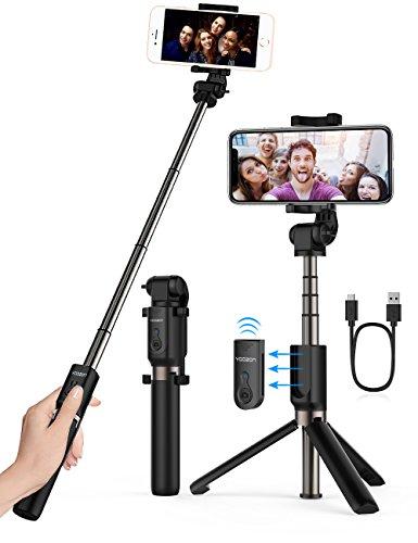 Bluetooth Selfie Stick Stativ, YOOZON Selfie-Stangen mit Bluetooth-Fernauslöser, Ausfahrbar Kabelgebunden Stab mit Monopod 3 in 1 Erweiterbar 360° Rotation für iphone X, iphone, Samsung, Smartphone