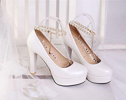 Aisun Damen Süß Künstliche Perlen Metall Knöchelriemchen Trichterabsatz Pumps Weiß