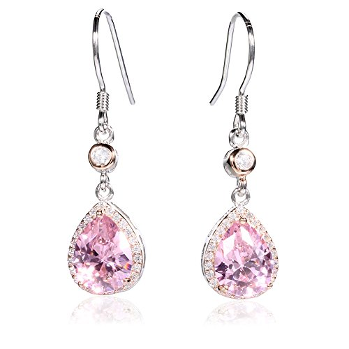 VWU Damen 925 Sterling Silber Ohrringe Hängend Hochzeit Ohrhänger Baumeln Tropfen Zirkonia Für Frauen Mädchen Rosa -
