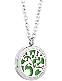 JOYMIAO Hollow Flower Aroma Essential Oil Diffuser Locket Pendant 316L Stainless Steel Magnetic Necklace Jewelry with 8 pads aQEI3GoSXn
