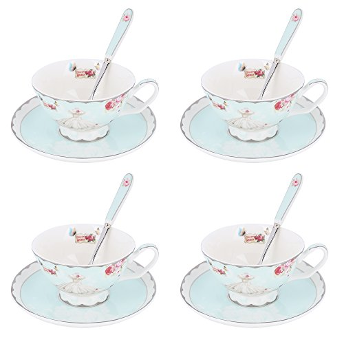 Artvigor Romantic Lace Skirt Coffee & Tea Service set With Coffee Cup and Saucer, Made of Porcelain, Service for 4