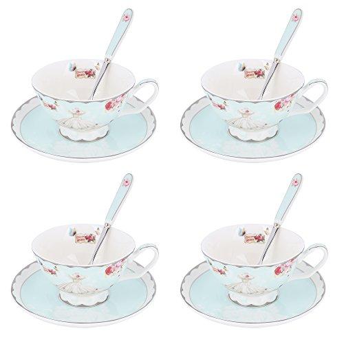 ARTVIGOR, 12-teilig Porzellan Kaffeeservice Set, mit je 4 Kaffeetassen, Untertassen und Löffel, Tee...