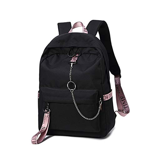 Bow Back Pocket (Wasserdichte Stoff Frauen Rucksack College School Bags für Teenager Bookbags Tasche Reise Rucksack Black pink Tape 14 Inches)