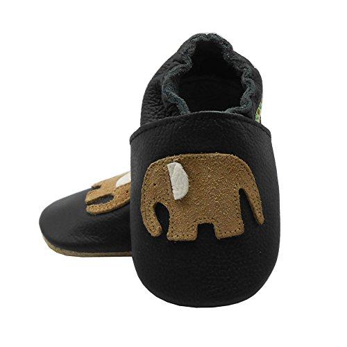 Sayoyo Karikatur Lauflernschuhe Baby Leder weiche Sohle Kugelsicherer Krippe Enfants Schuhe (12-18 Monate, Königsblau) Schwarz-2