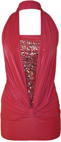 Signore alla moda Sequin Halter Neck increspato del tubo di Boob Womens Stretch senza maniche Partito club wear Top Taglie 36-46 rosso ciliegia