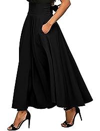 iBaste Jupe Femme Longue Vintage Taille Haute Longueur de la Cheville  Jupons Plissés Jupons Poches Latérales 626cdc7c641