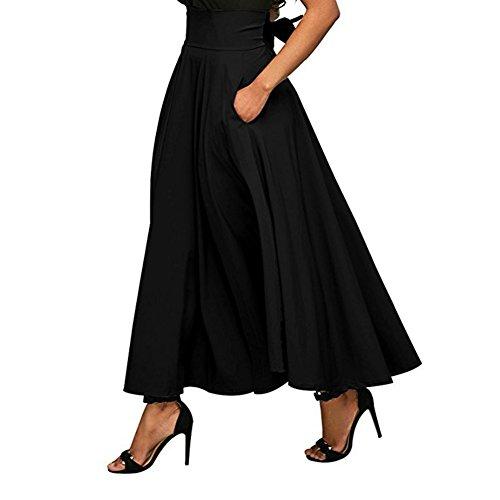 Ausgestellten Schwarzen Rock Langen (iBaste Damen Maxi-Rock mit Gürtel und hoher Taille ausgestellt mit Falten A-Linie Schwingenrock)