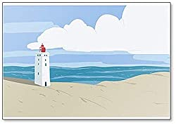 Rubjerg Knude Leuchtturm, Lønstrup in Nordjutland in Dänemark Illustration Klassischer Kühlschrankmagnet