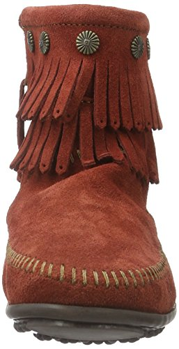 Minnetonka - Double Fringe Side Zip Boot, Stivali Mocassino da donna Brandy