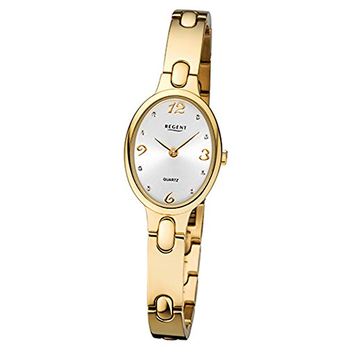 Regent Damen-Armbanduhr Elegant Analog Titan-Armband gold Quarz-Uhr Ziffernblatt silber URF1092