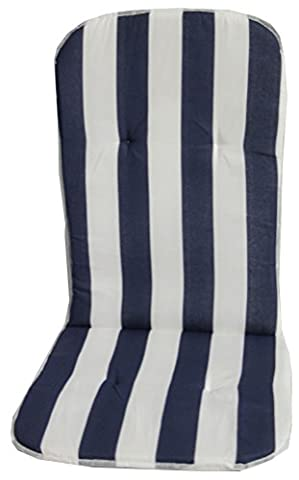 High backrest seat cushion for stacking garden chairs with blue white stripes