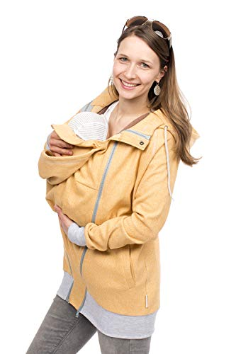 Viva la Mama - Umstandsjacke Frühling Sommer Tragejacke Mama und Baby Sweat Einsatz Tragen - Cleo gelb - XL (Babytrage Jacke-einsatz Für)