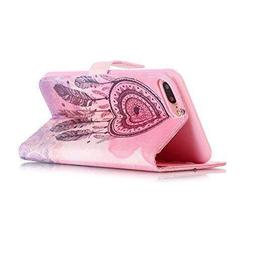 Voguecase® Pour Apple iPhone 7 Plus 5,5 Coque, Étui en cuir synthétique chic avec fonction support pratique pour Apple iPhone 7 Plus (Campanula plume 06)de Gratuit stylet l'écran aléatoire universelle Campanula plume 06