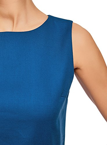 oodji Ultra Donna Abito senza Maniche in Cotone Denso Blu (7500N)