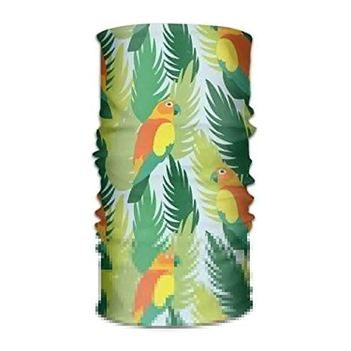 VTXWL Parrots and Tropical Jungle Leaves Headwear Bandanas Seamless Men Women Headwear 12-in-1 Stretchable Magic Scarf Balaclava Parrot Party Bluetooth