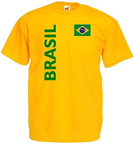 Brasilien Herren T-Shirt Brasil Trikot Fan Shirt|gelb S