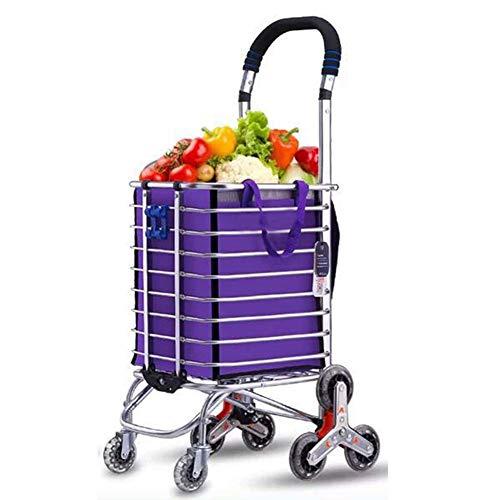 Lebensmittel-Wäscherei-Dienstprogramm-faltbarer Einkaufswagen-Wagen, Aluminiumlegierung-8-Rad-Treppensteigen, Tragfähigkeit 50kg, freier Haken-Gepäckseil-Speicher-Beutel - Kapazität 35L, Purpur