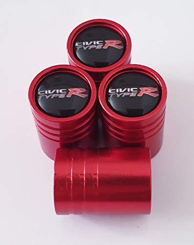 Speed Demons Valve Alliage Roue de Honda Civic Type R Rouge Bouchons de Protection pneumatique avec intérieur en Plastique pour Tous Les modèles Feuilles Anti-adhésives