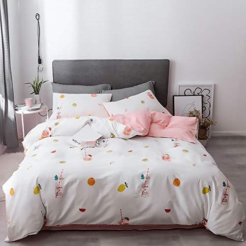 DAMAI STORE Bequem Obst Muster Bettwäsche Dreiteilige Student Family Quilt Kissenbezug Weich Und Komfortabel Multi-Size 100% Baumwolle Bettwäsche Vierteilig Weich (Farbe : White, Size : 220 * 240cm) -