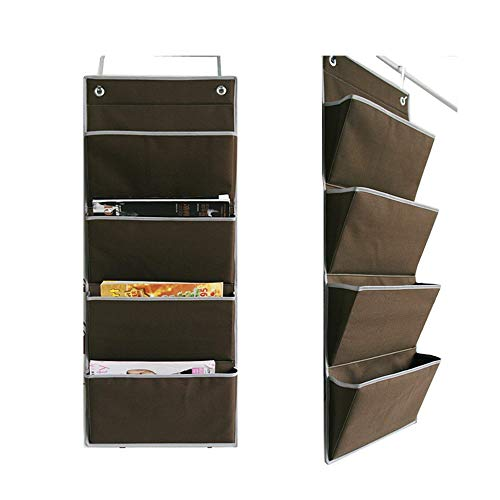 JOYOOO Wall Mount /Over the Door Oxford fabric Collapsible File Organizer Hanging Folder Document Bag Magazine Storage (4 Pockets, Coffee) -