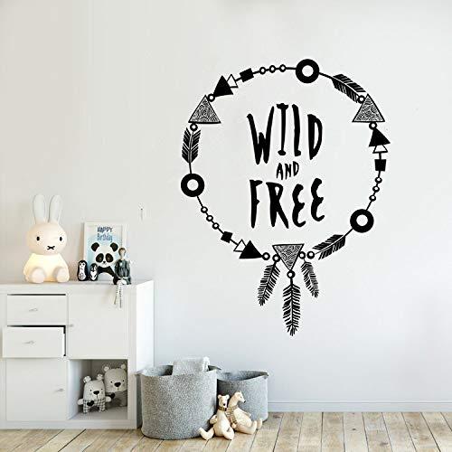 jiuyaomai Adesivo murale per Bambini Wild e Quote Stickers murali Motivazionali Parole murali Adorabile Boho Stile Collana Sticker Un Rosa 57x75cm