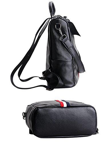 CUKKE Damen Echtes Leder Rucksack Wandern Reisetasche Rot-Grün Streifen Rot-Weiß-Blau Streifen