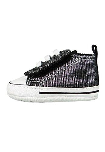 Converse Chucks bébé 854376C gris argenté avec velcro Argent Noir Blanc silver black white