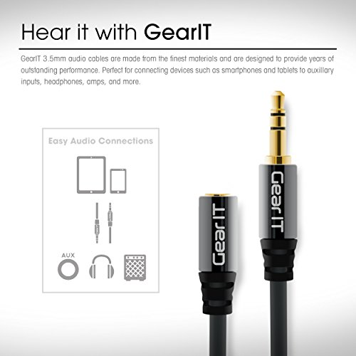 GearIT 3.5 mm stereo audio Extension Cable – 3.5 mm Auxiliary Gold Plated Male to Female Audio Jack – Step Down Design for iPhone, iPod, smartphone, tablet and MP3 Cases 50ft (Black)