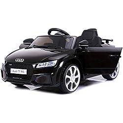 RIRICAR Audi TT RS, Negro, Licencia Original, Batería accionada, Puertas de la Abertura, Asiento de Cuero, Motor 2X, Batería de 12 V, 2.4 GHz teledirigido, Ruedas Suaves de EVA, Arranque Suave