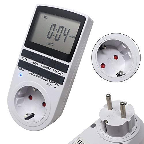 KETOTEK Zeitschaltuhren Digital Steckdose Timers Heizung Zeitschaltuhren Mechanisch LCD 12/24 Stunden 7 Tage Innen Set Elektrisch 230V Timer Plug Socket (Weiß)