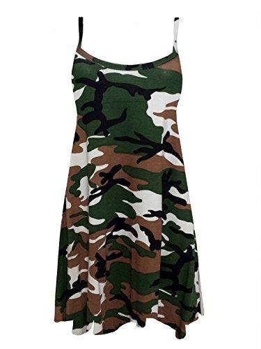 Chocolate Pickle ® Nouveau Femmes Grande Taille Imprimé de Cami bretelles Long BalançoireBalançoire Vest Mini Dress Green Army