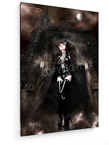 Bruno Passigatti - Vampira - 60x90 cm - Textil-Leinwandbild auf Keilrahmen - Wand-Bild - Kunst, Gemälde, Foto, Bild auf Leinwand - - Kabarett Kostüm Bilder