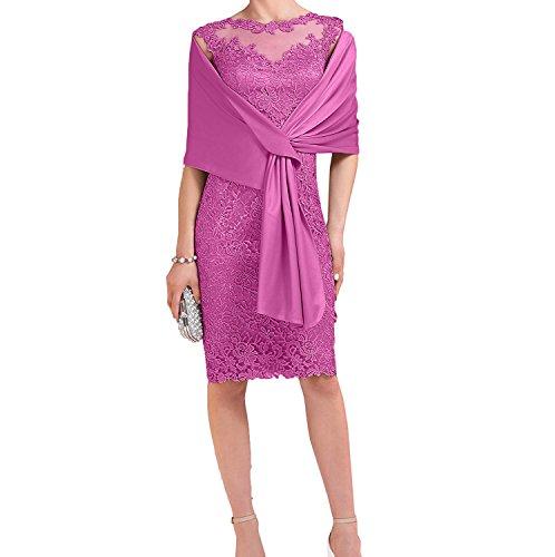 Charmant Damen Pink Spitze Brautmutterkleider Abendkleider Etuikleider Promkleider mit Satin Stola-38 Pink