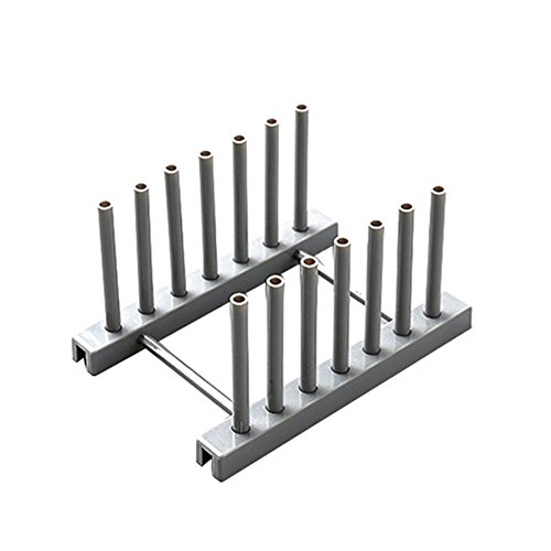 pushfocourag Küche Teller Topf Abdeckung Trocknen Ablauf-Halter Kunststoff Aufbewahrung Regal Grau (Teller-regal-wand-display)