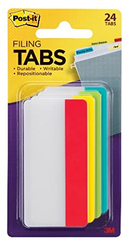 Durable File Tabs, 3 x 1 1/2, Solid, Assorted Primary Colors, 24/PK, Sold as 1 Package