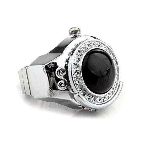 Skyllc® 20mm Schwarz Achat Ringuhr Fingeruhr Finger Uhr Metall TREND