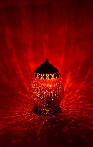 Lanterna led, altezza 18 cm, vetro, rot