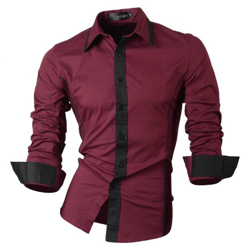 jeansian Homme Chemises Casual Shirt Tops Mode Men Slim Fit 8015 WineRed