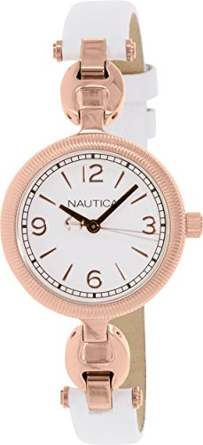 Nautica Women's NAD14508M White Leather Quartz Watch