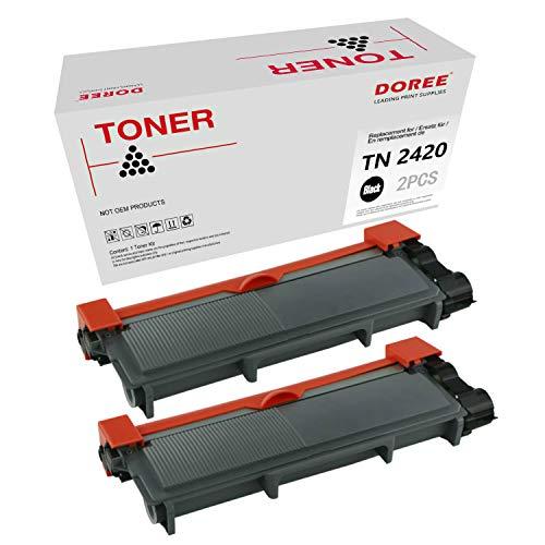 DOREE Cartuccia di Toner compatibile per Brother TN2420 / TN2410,TN-2420 / TN-2410 ,2 TN2420 nero, con chip