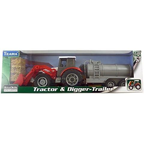 Tractor metal Diecast rojo y excavadoras con la caravana de barril 1:32 escala serie